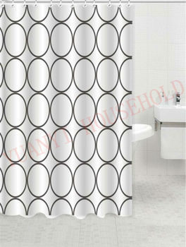 Custom Circle Design Printed Shower Curtains Elegant Polyester Curtain