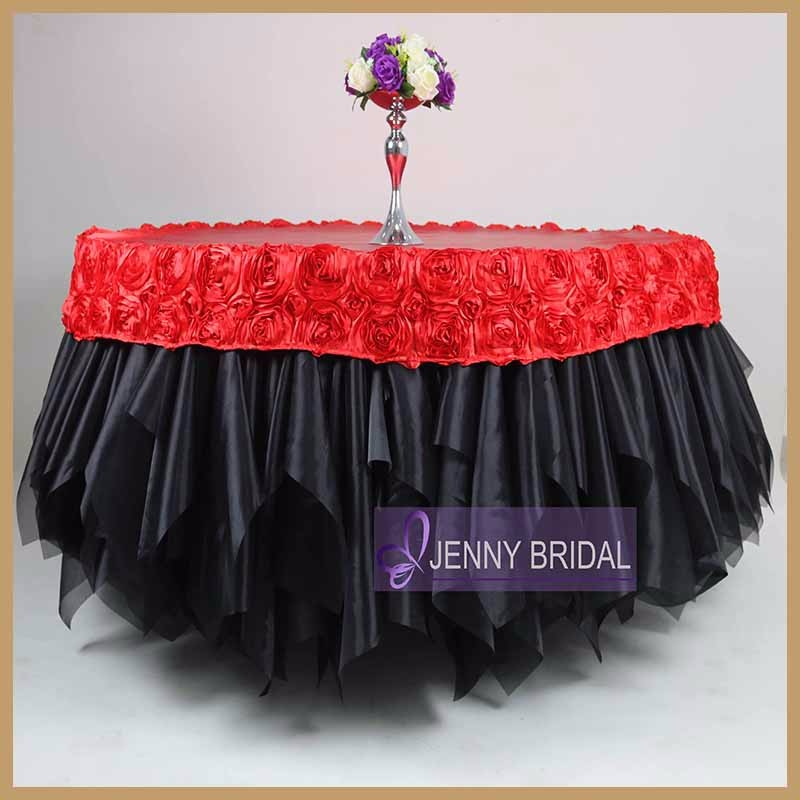 TC121B Black And Red Round Table Coth With Table Cap Organza Ruffle Table  Cover For Wedding