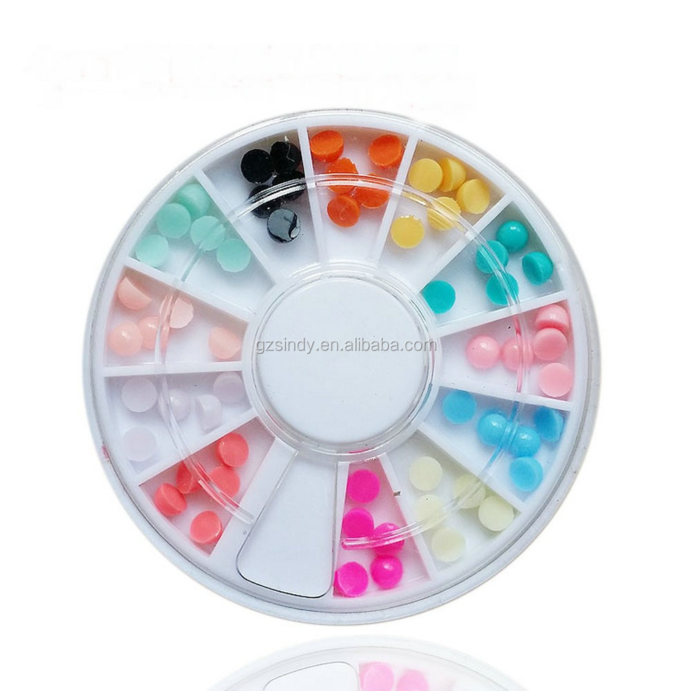Wholesale Sweet Candy Color Nail Art Design Newest 4mm Flat Back Half Round Resin Ball Beads Pearl Nail Decoration Wheel