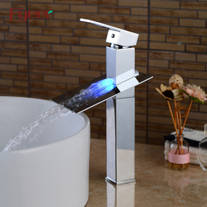 Fyeer Factory Price Solid Brass Waterfall 3 Color Basin Tap Led Faucet