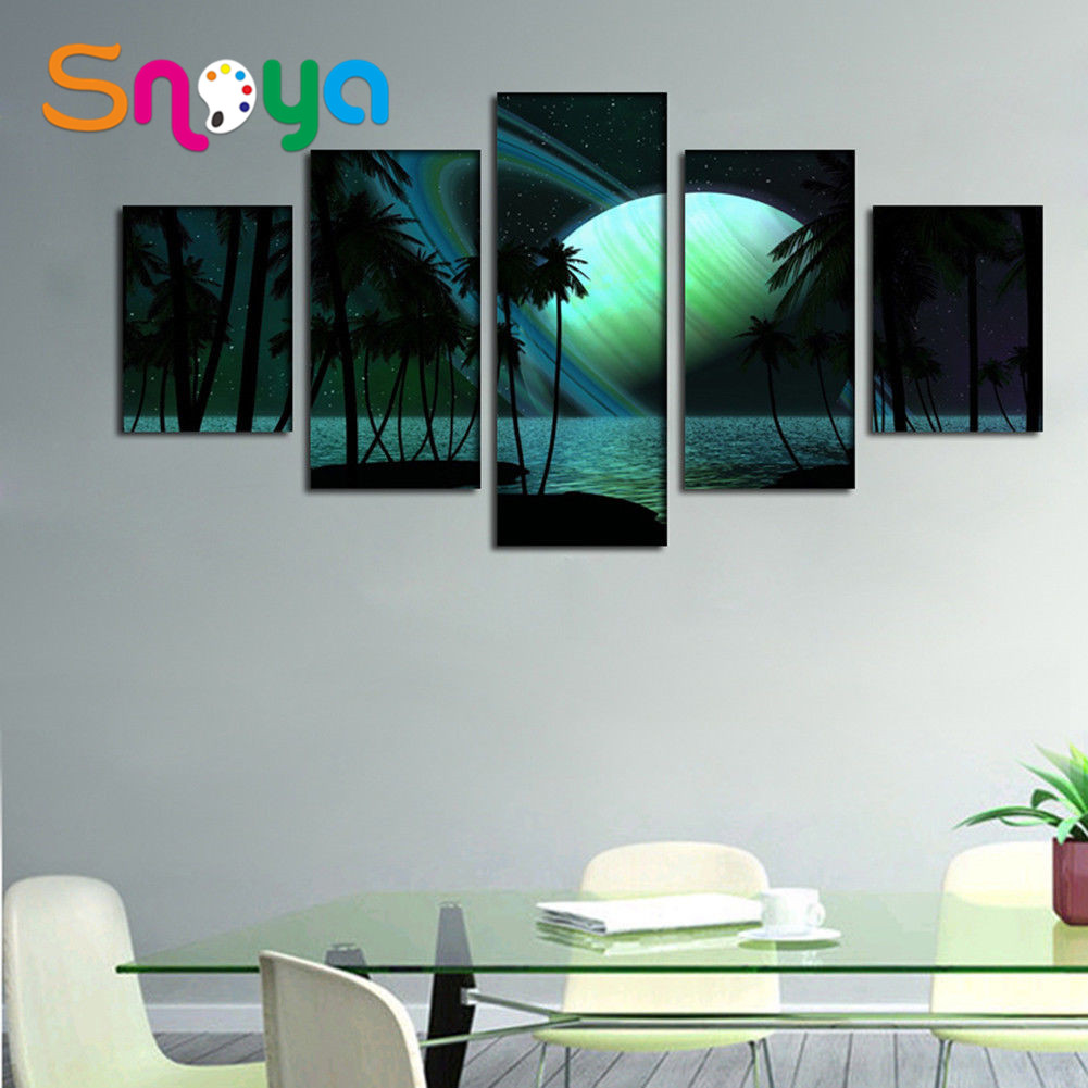 Beautiful seascape living room set scenery canvas painting hotel decoration