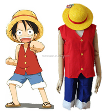 Ecoparty Anime One Piece Monkey D Luffy Cosplay Costume Full Set Uniform ( Top + Shorts + Hat ) For Adult Halloween Costumes