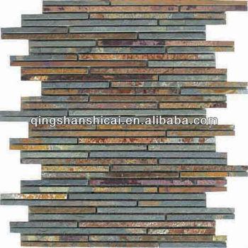 Mixed Up 12 X Random Linear Mosaic Slate Accent Tile