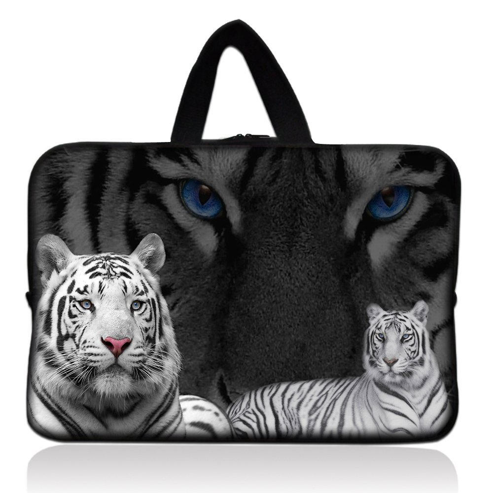 "White Tiger Universal 7"" 7.7"" 8"" Carrying Bag Case Cover Bag Sleeve + Handle for 7"" Samsung Galaxy Tab 2 Tab 3, Ipad Mini,Amazon 2 3 4 Kindle Fire, Touch, Fire HD,Asus Google Nexus 7,LeapFrog LeapPad 2,Asus Memo Pad ME172V,BlackBerry PlayBook,HP Slate 7,Kurio 7,Barnes & Noble NOOK Color,Pendo Pad"