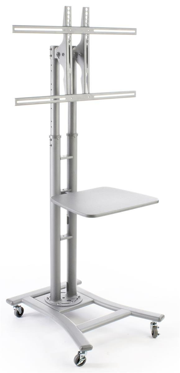 """Portable Flat Screen TV Stand for 32"""" to 70"""" Monitors Has Locking Castors and Optional Shelf - Silver"""