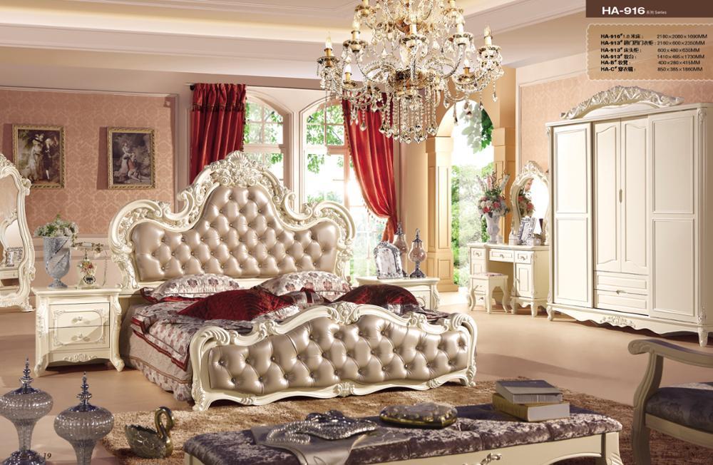 Italian / French Rococo Luxury Bedroom Furniture , Dubai Luxury Bedroom  Furniture Set GZH HA916