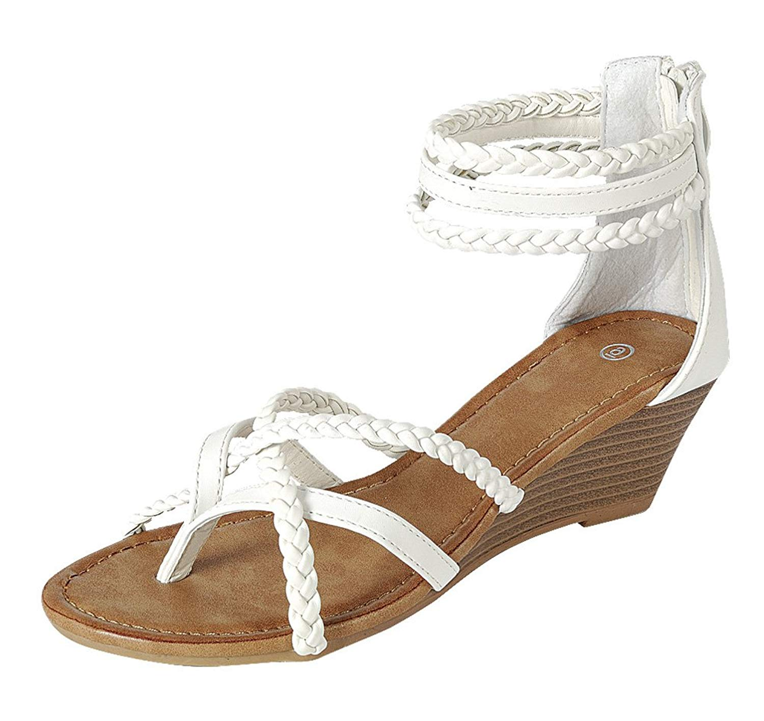 89d455d2cba3 Get Quotations · Cambridge Select Women s Back Zip Strappy Crisscross  Braided Ankle Thong Toe Wedge Sandal