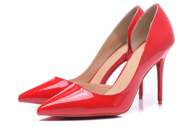 2015 Brand Sexy High Heels Fashion Red Bottom Women Pumps red colore patent leather pointed heels side air-rail root shoes