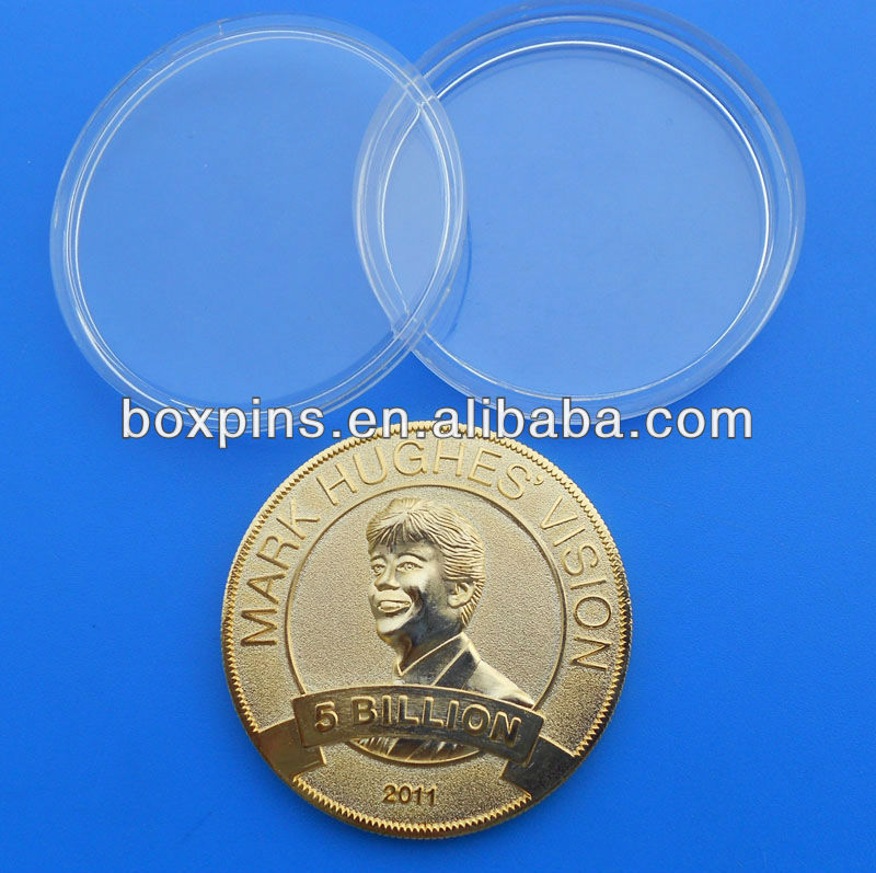 gold plating metal coin with plastic box/custom 3D coin
