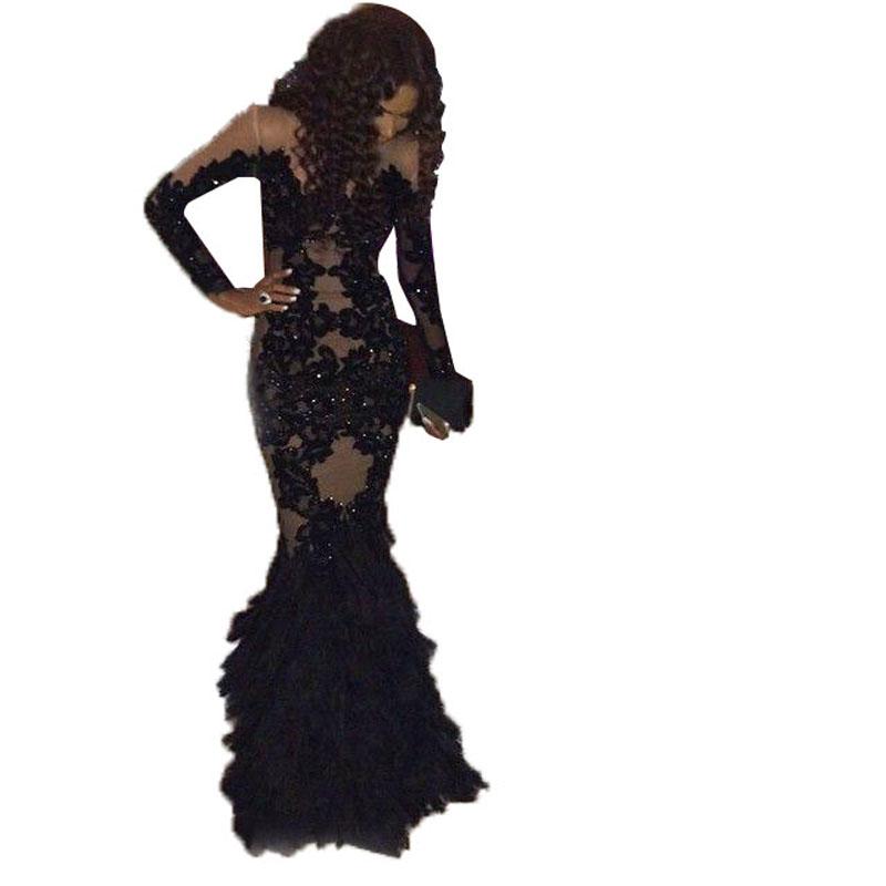 17729c8b24605 Luxury Black Feather Mermaid Evening Dresses Vestido De Festa Sheer