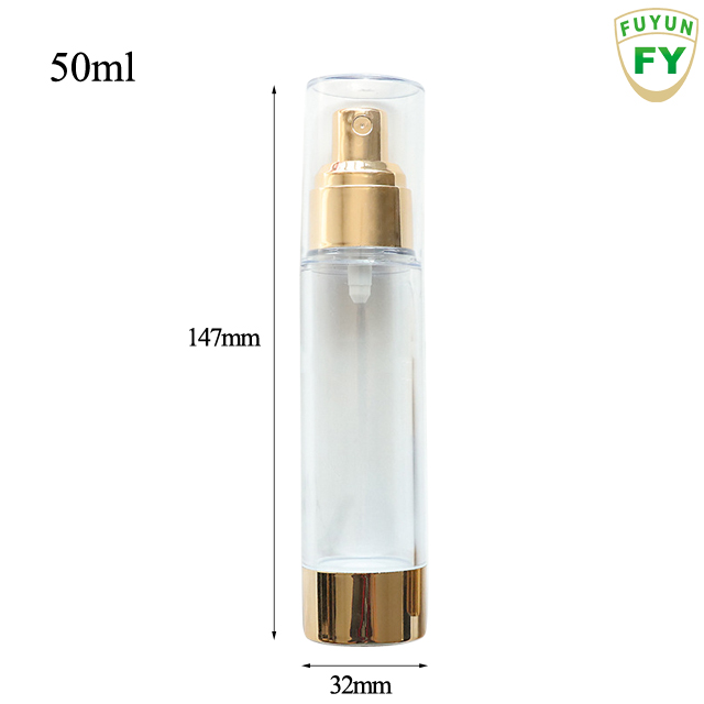 Fuyun In stock 15ml/30ml/50ml fancy gold clear cream as plastic spray airless bottle