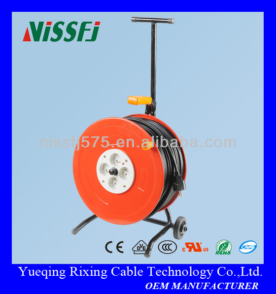 Metal & Plistic Flexible Electric Cable Reel with Plug steel reel drum french sockets french cable reel france cable wheel