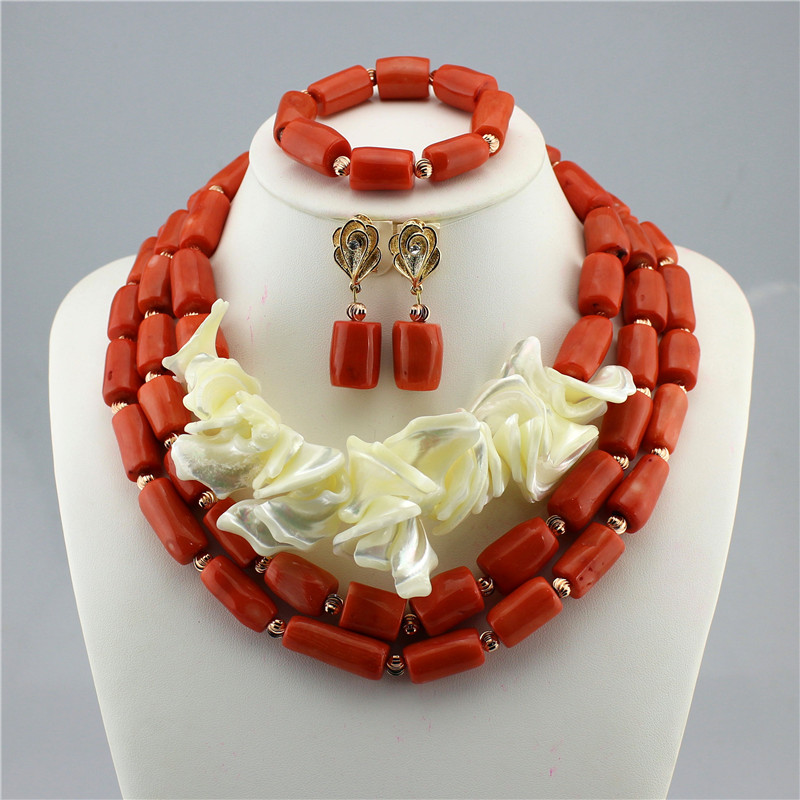 Fashion Chunky Bridal Jewelry Sets Indian Wedding Coral Necklace Earrings Set Dubai mother of pearl and Coral Jewelry Set