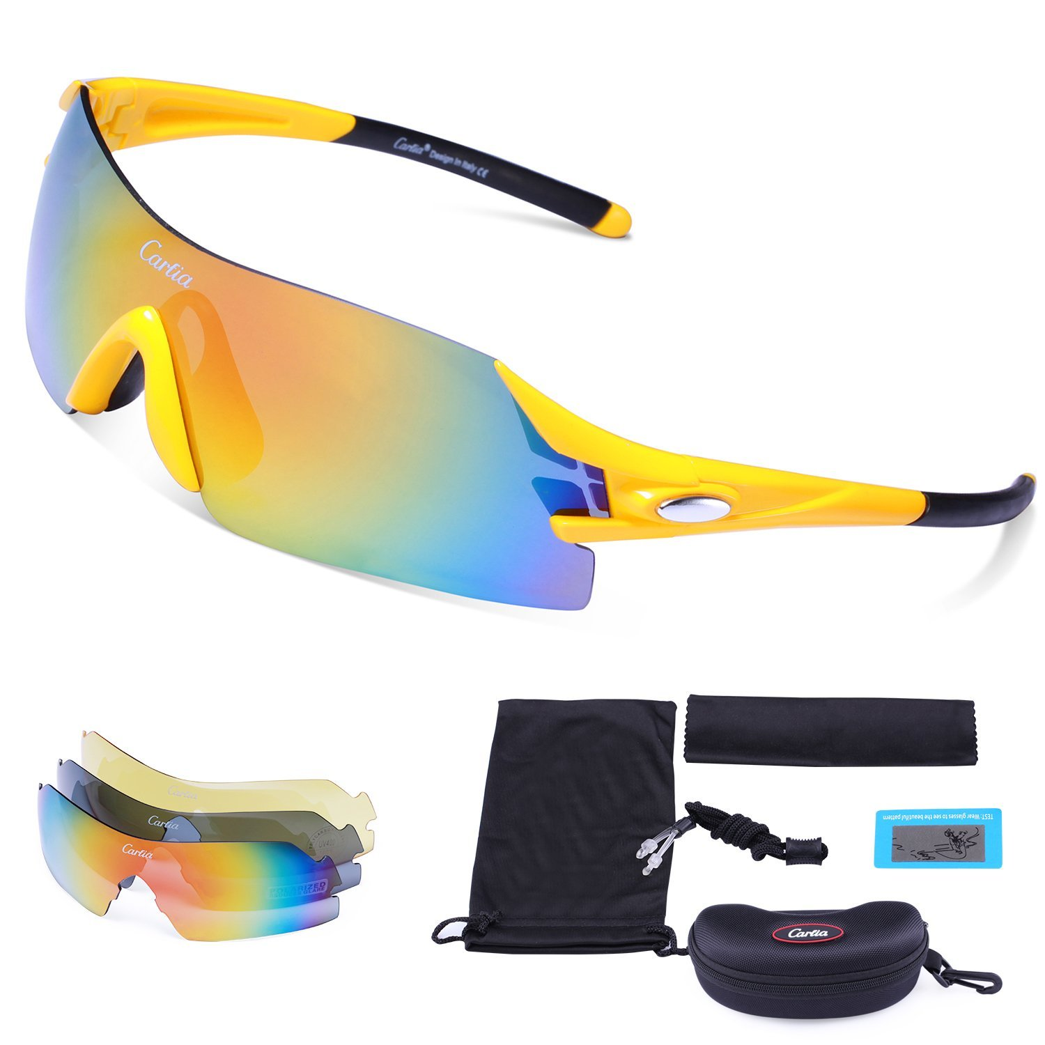 b34986aea4 Get Quotations · Sports Sunglasses - Carfia Mens Womens Cycling Sunglasses  UV400 Protection Polarized Sunglasses with 3 Interchangeable Lenses
