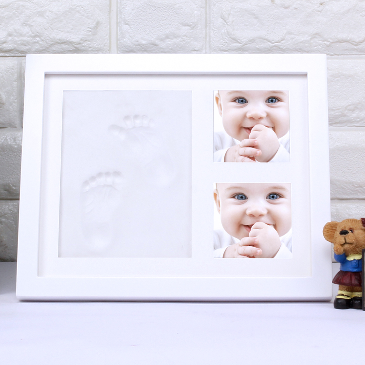 Baby Footprint & Handprint Picture Frame Kit Solid Wood Perfect Newborn Baby Boy Girl Shower souvenir Gift