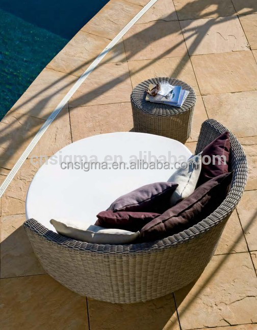 2017 new arrival rattan round canopy bed swimming pool sun lounger aluminum