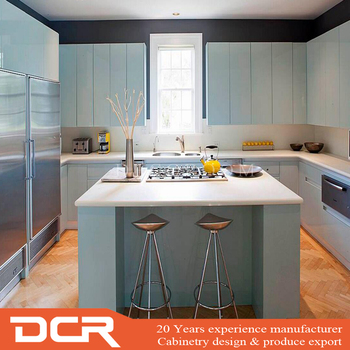 European Style Foshan Luxury Blue Lacquer Kitchen Cabinet Made By High Quality Building Materials