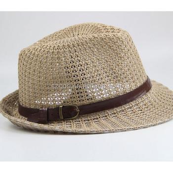 Wholesale Mens Cheap Panama straw hats with Black Ribbon Straw fedora Hats 8b4ed6dfb87
