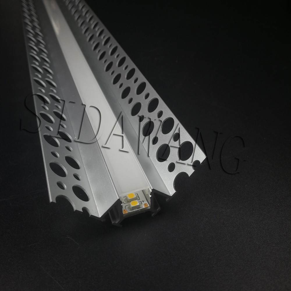 Recessed Aluminium Led Profile for inside corner, Aluminum Channel for drywall use with holes on flange