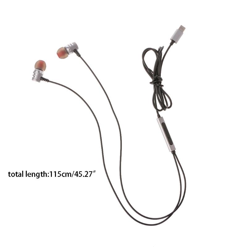 OOTDTY USB Type-C Earbuds In-Ear Earphone Hi-Fi Digital 3D Audio With MIC For Moto Z HTC U11