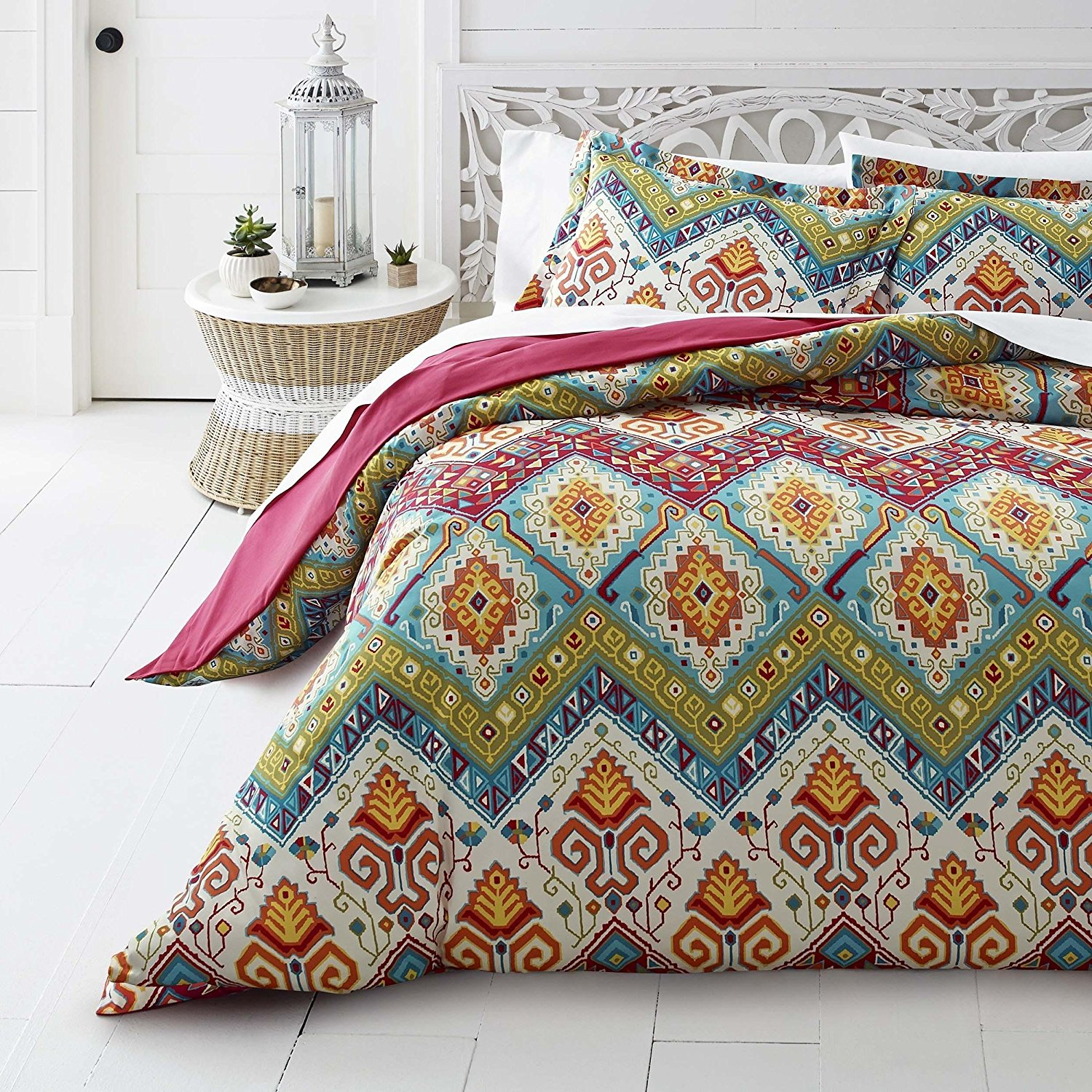 3 Piece Beautiful Red Green Orange White Blue Full Queen Duvet Cover Set, Moroccan Paisley Themed Reversible Bedding Vibrant Aztec Yellow Purple Bohemian Boho Geometric Medallion Abstract, Microfiber
