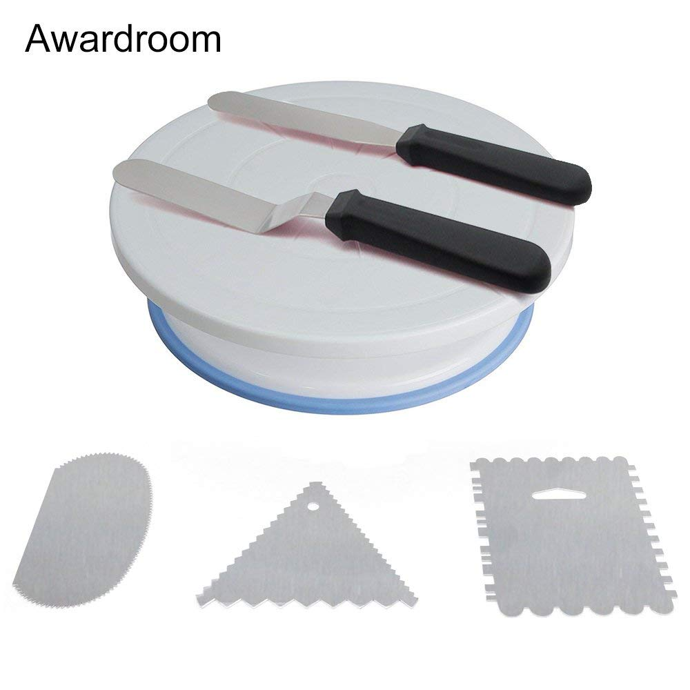 Cake Decorating Turntable,LENK Revolving Cake Turntable Stand Kit,Cake Decorating Supplies-3 Decorating Comb/Icing Smoother,2 Icing Spatula With Sided & Angled