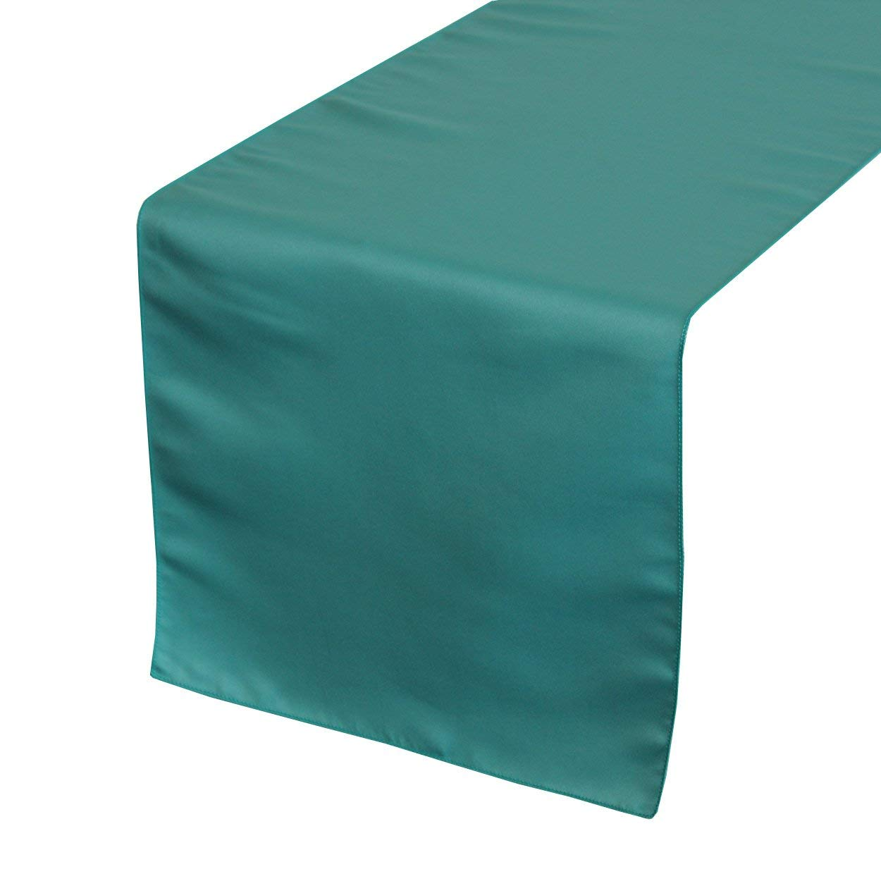 Your Chair Covers - 14 x 108 inch Lamour Table Runners Teal, Table Runner for Weddings, Events, Hotels and Catering Services