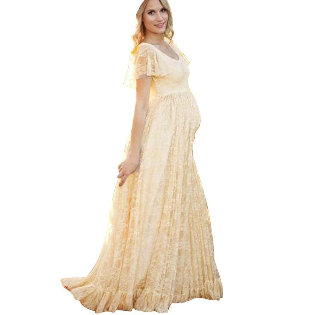 81bcf6fb3e Maternity Dresses Fabal Women s Floral Lace Short Sleeve Photography Fly  Sleeves O Neck