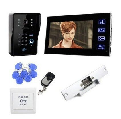 HOT!!Touch Screen 7inch color TFT LCD 5 RFID keys wired two-way intercom system video door phone