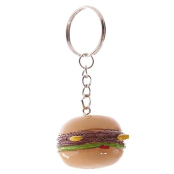Creative Men Women Hamburger Keyring Food Charm Keychain AD1321