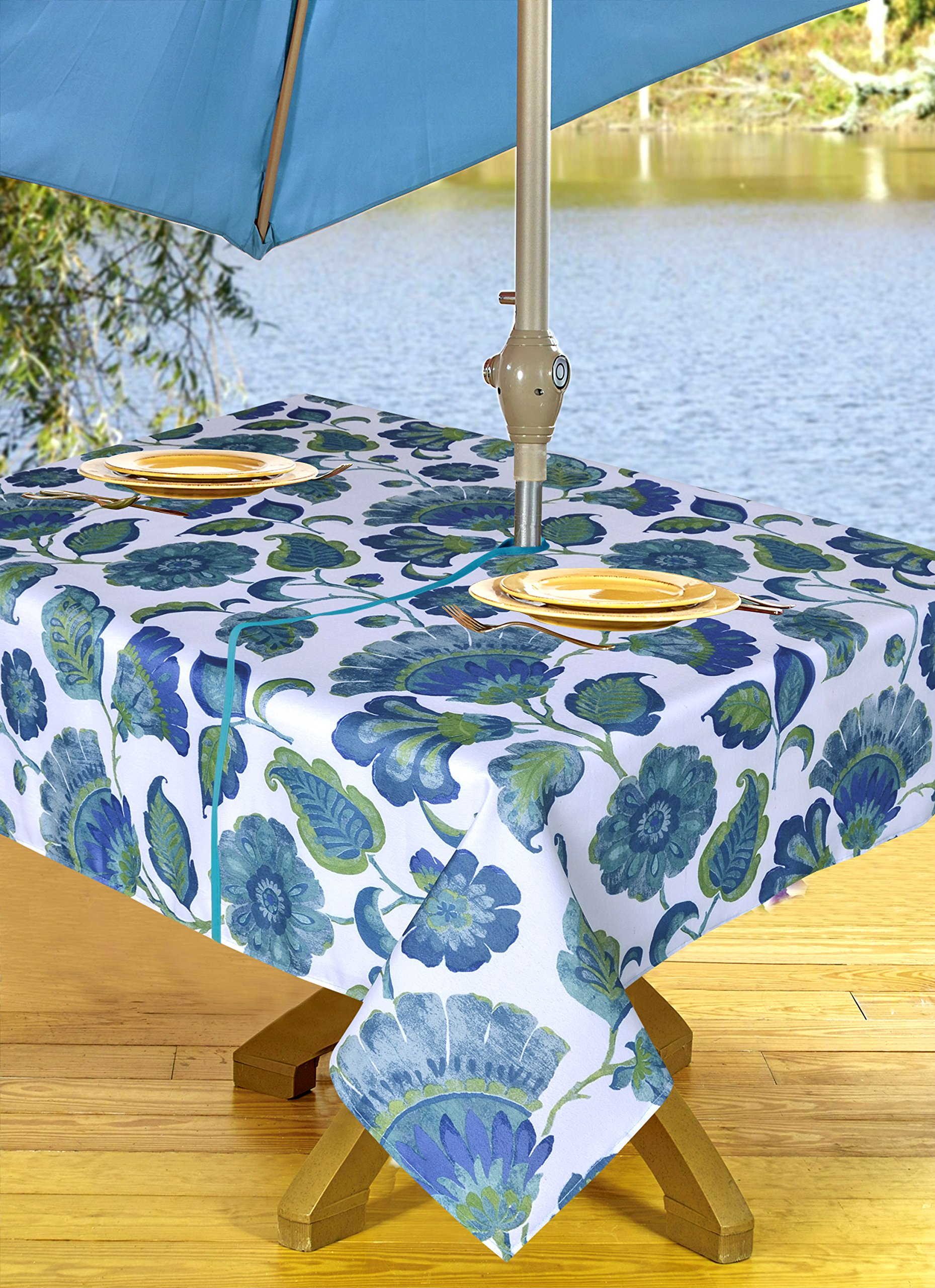 Get Quotations High Quality Outdoor Tablecloths Umbrella Hole With Zipper Patio Tablecloth Stain Resistant Spill