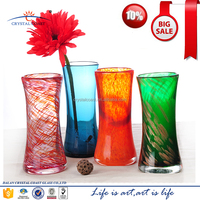 wholesale promotion stock high quality handblown colored tall cylinder mosaic glass bud vases