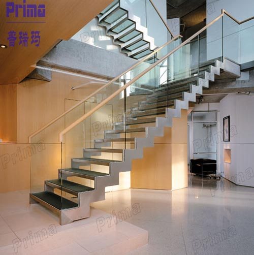 Double Stringer L Shape Modern Indoor Solid Wood Straight Staircase /glass  Stair Case (pr 1032)   Buy L Shape Stair Case,Modern Indoor Stairs,Solid  Wood ...