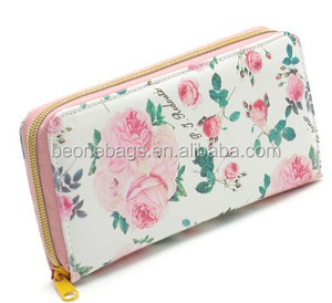 Popular Lady Floral Large Leather Card Holder Money Clip
