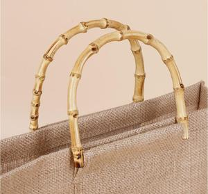 heavy duty reusable natural jute shopping bag with gold wooden bamboo handle