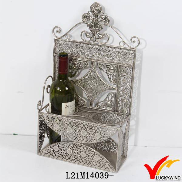 silver plated antique metal 2 wine bottle carrier