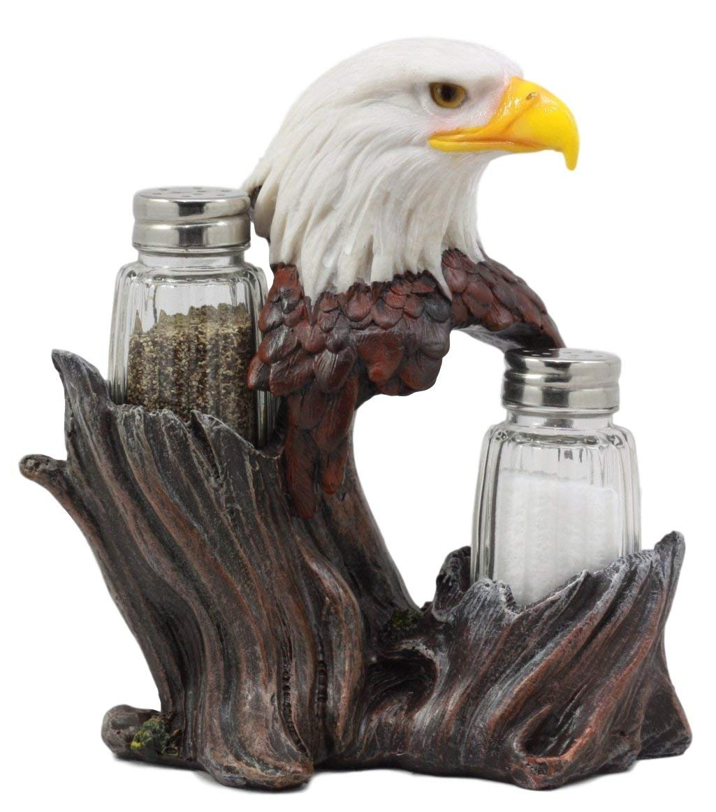 "Ebros Gift Patriotic American Bald Eagle Glass Salt & Pepper Shakers Holder Figurine Decor 7"" H"
