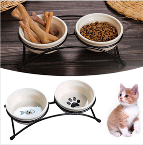 Wholesale cheap small pet 2 round ceramic cat food bowl with stand
