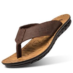 hot sale convenient flip flops soft and breathable beach genuine leather shoes men slippers sandals