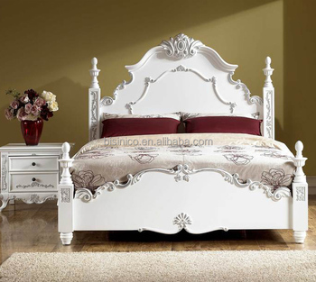 Classic French style bedroom furniture solid wood white and silver color  four poster double bed, View double bed, BISINI Product Details from  Zhaoqing ...