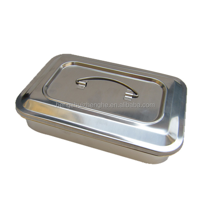 Stainless Steel Sterilizing Medical Square Plate with Cover