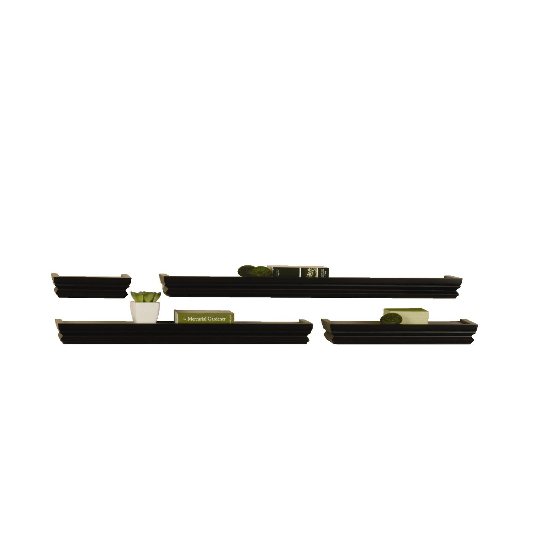 MELANNCO Wall Shelves Set, Black, Set of 4