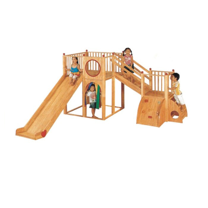 Wholesale wooden Daycare Kids Slide Indoor Playground Equipment in china