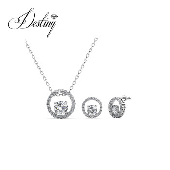 a3ed25ed2 Destiny Jewellery fashion women jewelry circle crystal pendant and earrings  Set 18k gold plated made with