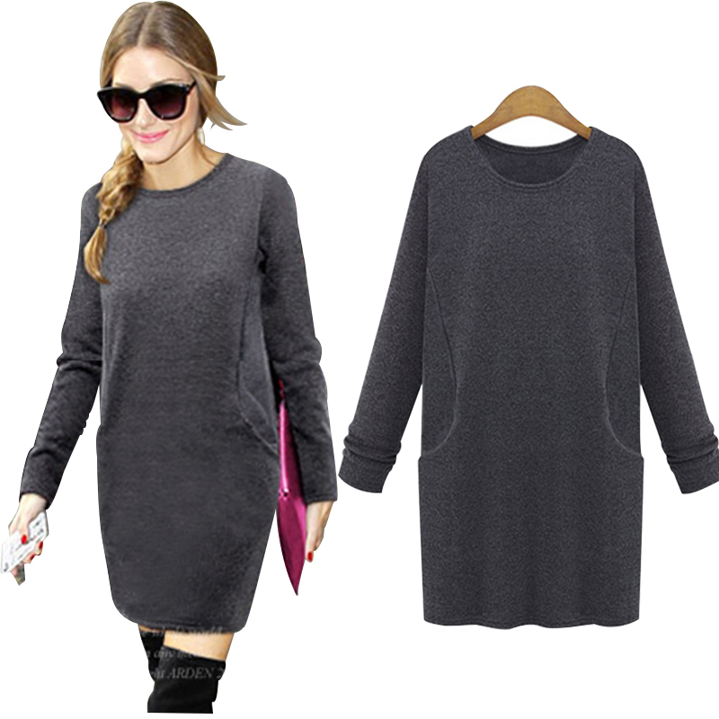 Hot Sale! New 2015 Women Winter Dress Big Pocket Pure Color Soft Nap Casual Dress Long Sleeve Autumn Casual Sexy Line Vestidos