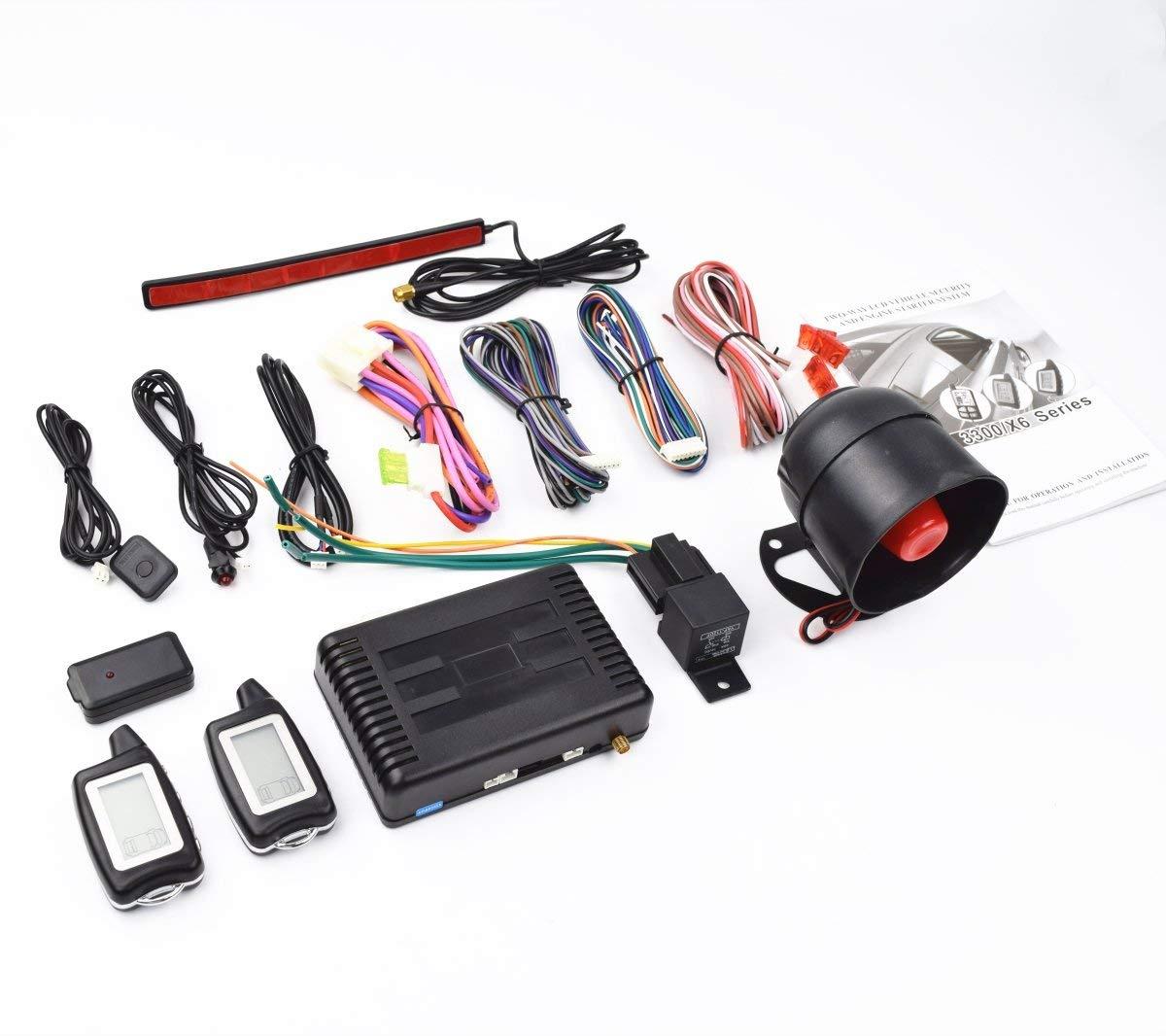 CarBest Vehicle Security Paging Car Alarm 2 Way LCD Sensor Remote Engine Start System Kit Automatic | Passive Keyless Entry(PKE) | Car Burglar Alarm System - CA-3300B