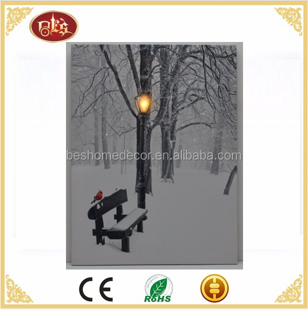 LED lighted canvas snow scene cardinal light up canvas prints with led lights