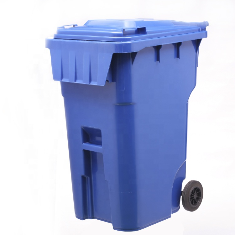 360 Liter Outdoor HDPE Heavy Duty Garden Mobile Movable Recycle Street Trash Garbage Waste Can Bin With Wheels