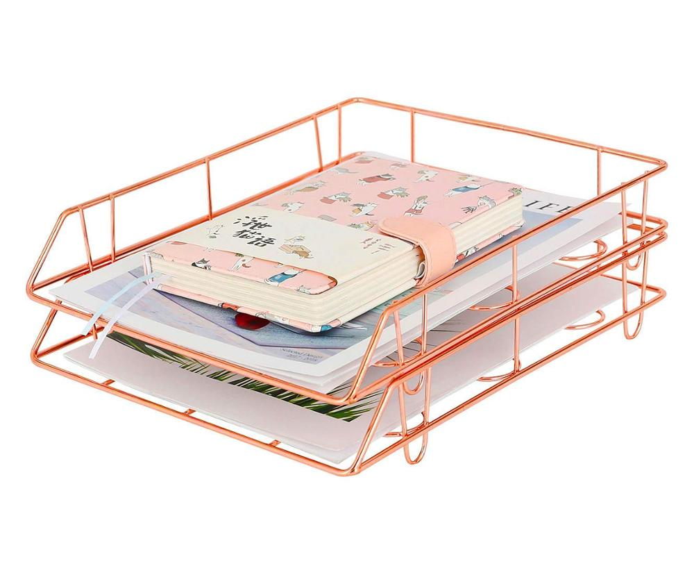 Wideny Rose Gold Office & School factory Supplies Desk desktop table stackable organizer set wire metal document paper File Tray