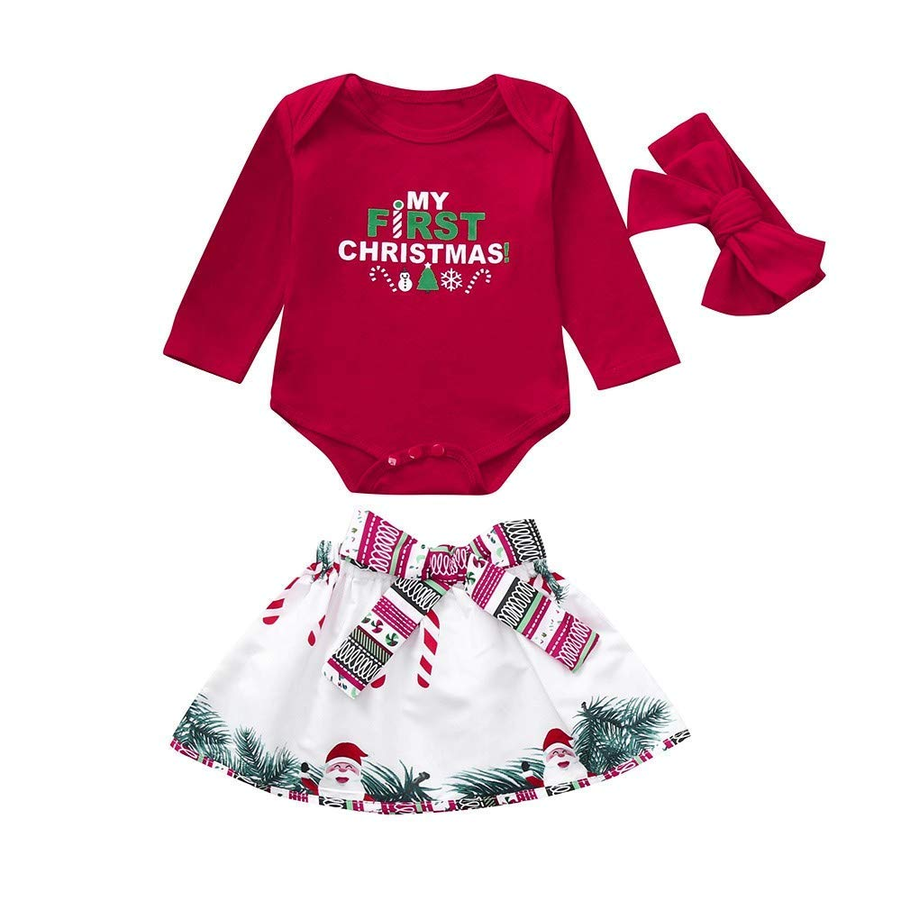 0d6a201d0b340 Get Quotations · Franterd My First Christmas 3PC Baby Clothes Set Little  Girl Xmas Red Romper Jumpsuit Tops +